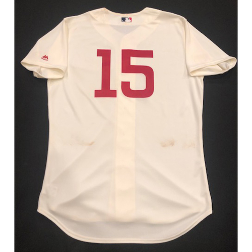 Photo of Nick Senzel -- Game-Used 1936 Throwback Jersey (Starting CF: 2-for-4, 2 RBI, BB, R) -- Cubs vs. Reds on June 30, 2019 -- Jersey Size 46