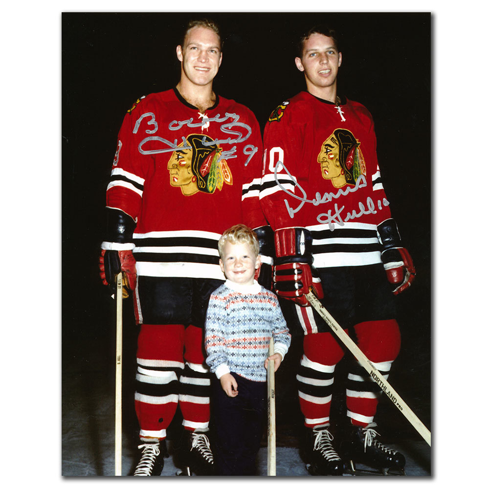 Bobby Hull & Dennis Hull Chicago Blackhawks Dual Autographed 8x10