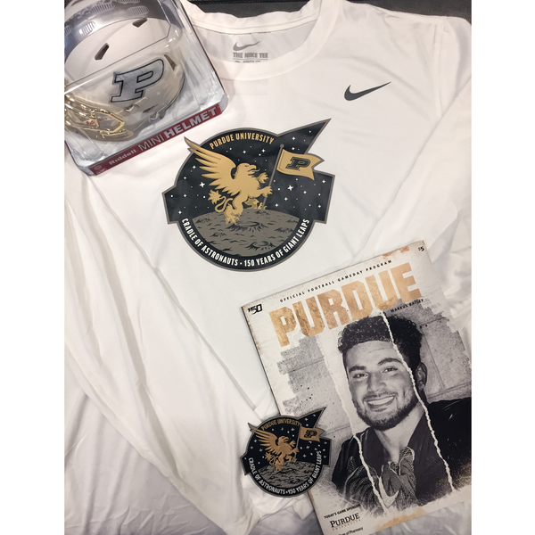 Photo of Purdue Moon Walk Package 2 - Includes Speed Mini-Helmet, Patch, Program & Sideline LS White T-Shirt Size XL
