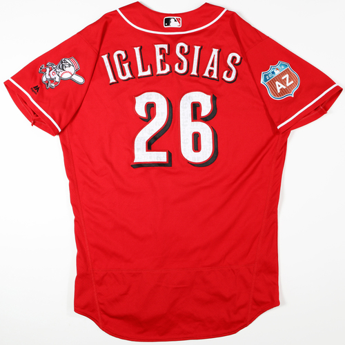 Photo of 2016 Spring Training - Spring Training Game Used Jersey - Raisel Iglesias (Reds)- Size- 46