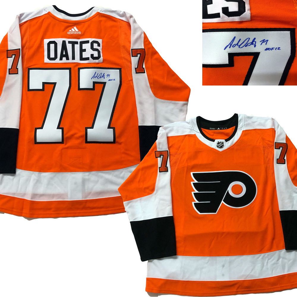 ADAM OATES Signed Philadelphia Flyers Orange Adidas PRO Jersey - HOF 12