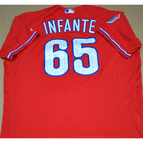Photo of Game-Used 2016 Spring Training Jersey - Omar Infante - Size 48 - Philadelphia Phillies