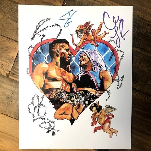 Photo of Johnny Gargano and Candice LeRae SIGNED Rob Schamberger 11 x 14 Art Print (2021)