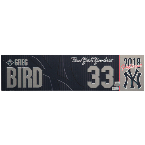 Photo of Greg Bird New York Yankees Team-Issued #33 Nameplate vs. Oakland Athletics on October 3, 2018 - American League Wildcard Game