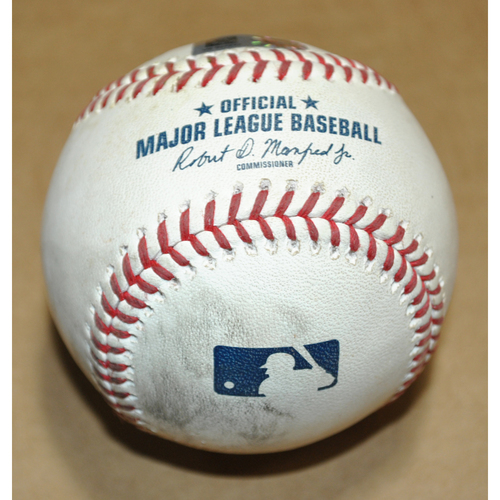 Photo of Game-Used Baseball - 2021 Little League Classic - Los Angeles Angels vs. Cleveland Indians - 8/22/2021 - Pitcher: Cal Quantrill, Batters: Max Stassi/Jose Iglesias - Strikeout Looking/Ball - Top 4