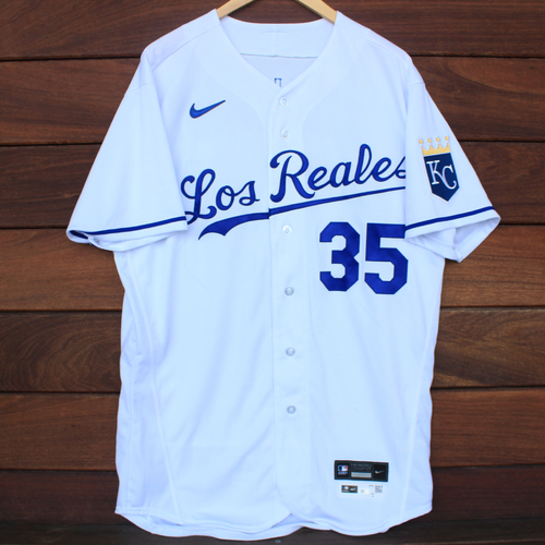 Photo of Game-Used Los Reales Jersey: Greg Holland #35 (SEA@KC 9/17/21) - Size 46