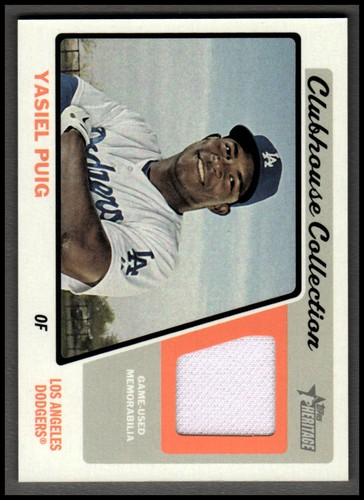 Photo of 2015 Topps Heritage Clubhouse Collection Relics #CCRYP Yasiel Puig