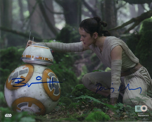 Daisy Ridley as Rey and Brian Herring as BB-8 8x10 Autographed in Blue Ink Photo