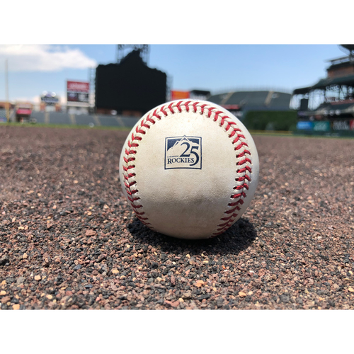 Photo of Colorado Rockies Game-Used Baseball - Pitcher: Patrick Corbin, Batter: Charlie Blackmon - RBI Double (10) to Souza Jr. - July 10, 2018