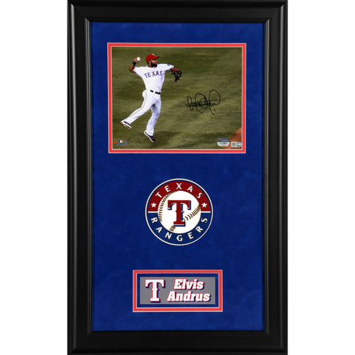 "Photo of Elvis Andrus Texas Rangers Deluxe Framed Autographed 8"" x 10"" Photo"