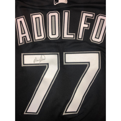 Photo of Micker Adolfo Autographed Black Alternate Jersey - Size 50
