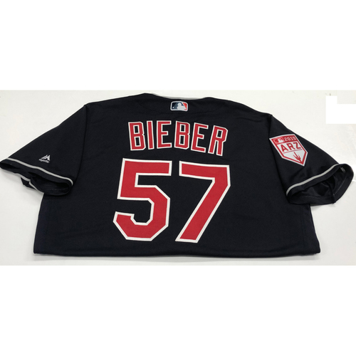 Photo of Shane Bieber Team Issued 2019 Spring Training Jersey