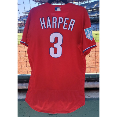 Photo of 2019 Bryce Harper Game-Used Spring Training Jersey - Phillies Debut