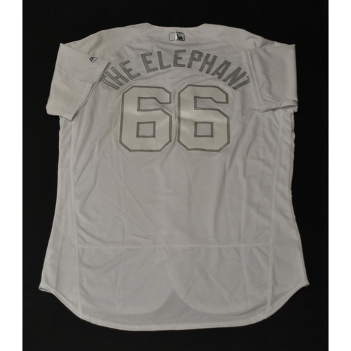 "Photo of Jarlin ""THE ELEPHANT"" Garcia Miami Marlins Game-Used 2019 Players' Weekend Jersey"