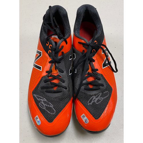 Photo of Team Issued Autographed Orange & Black New Balance Cleats signed by #13 Austin Slater - Size 12