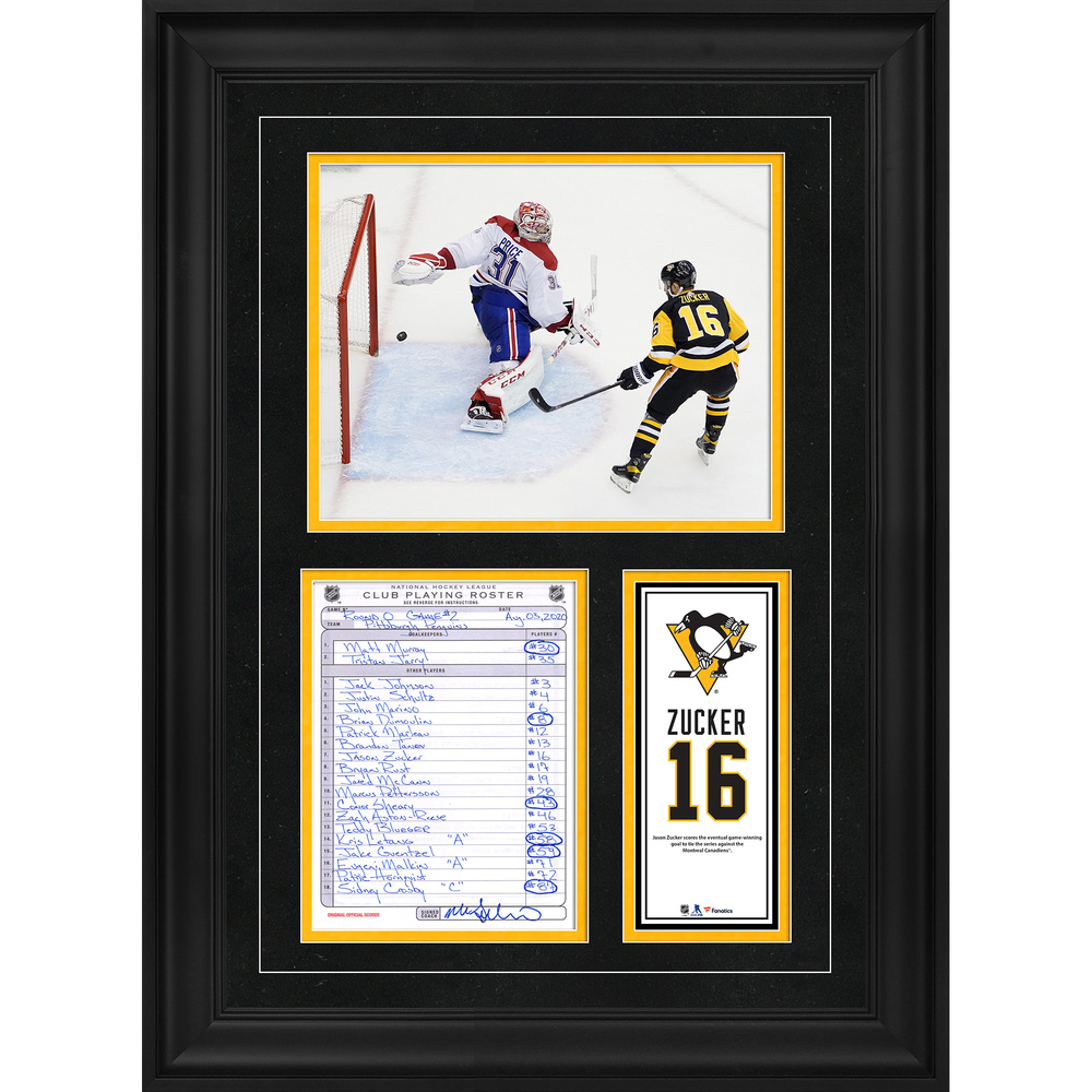 Jason Zucker Pittsburgh Penguins Framed Original Line-Up Card from August 3, 2020 vs. Montreal Canadiens - Game 2 Game-Winning Goal