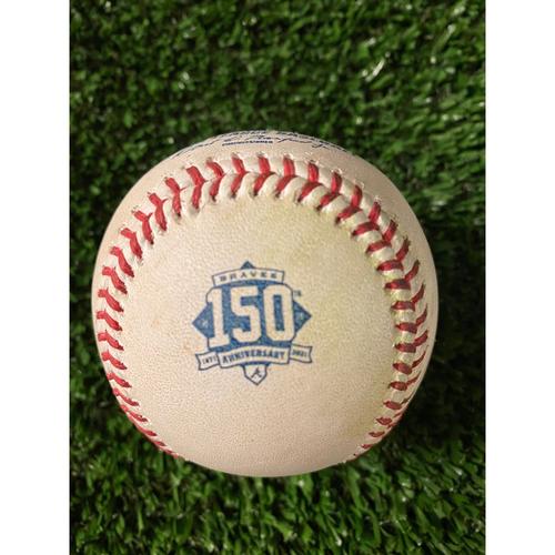 Dansby Swanson Game Used Hit Single Baseball - 4/11/21, Bottom 1