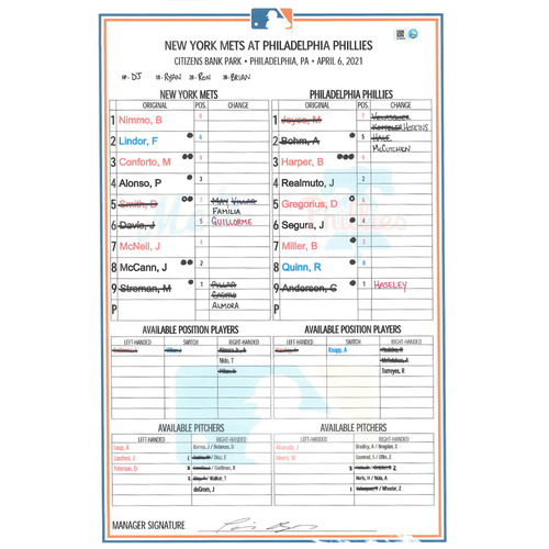 Photo of Game Used Lineup Card - Mets First Win of 2021; Alonso and Smith Hit Their First Home Runs of 2021 - Mets vs. Phillies - 4/6/21