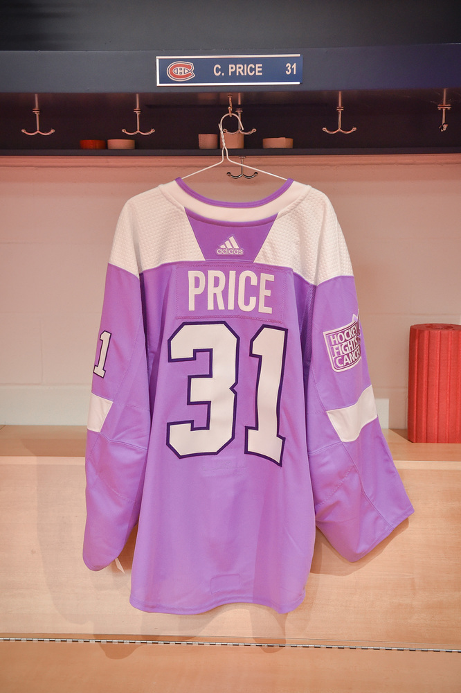 61cda2435  31 Carey Price Warm-Up Worn and Autographed Hockey Fights Cancer Jersey