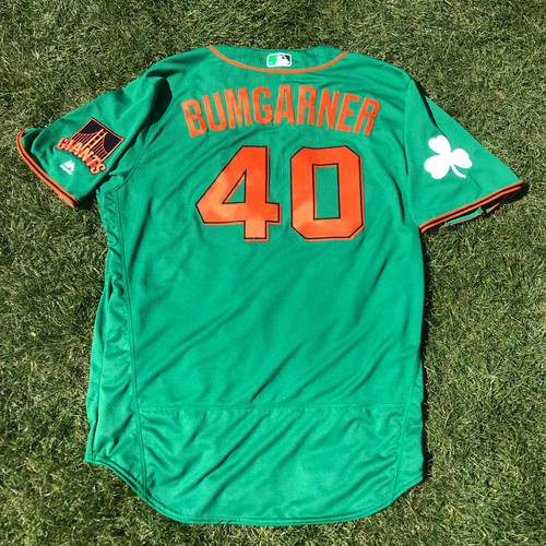 Photo of San Francisco Giants - 2018 St. Patrick's Day - Team Issued Jersey - Madison Bumgarner