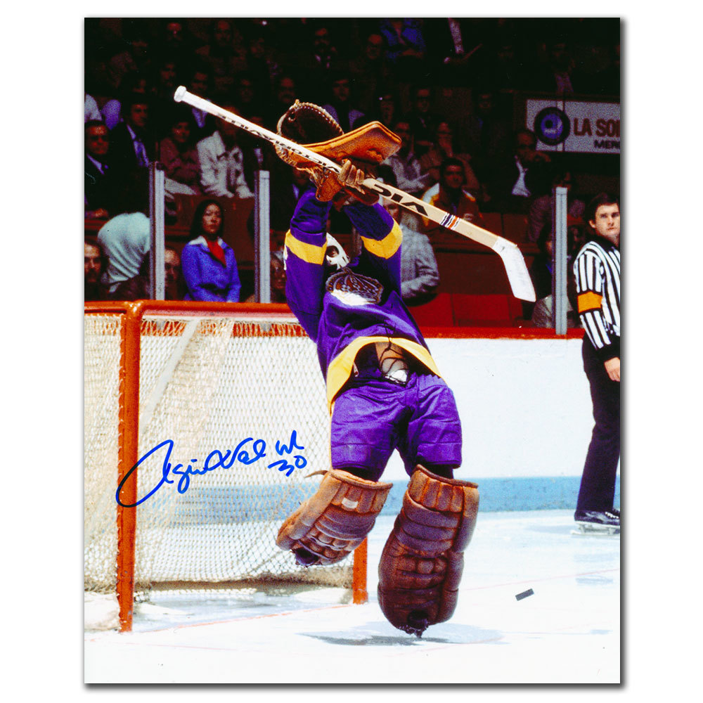 Rogie Vachon Los Angeles Kings BIG SAVE Autographed 8x10