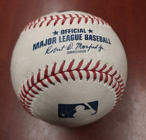 Photo of Authenticated Game Used Baseball - March 26, 2019 in Montreal vs Brewers: Roemon Fields Singles against Zack Brown (B7)