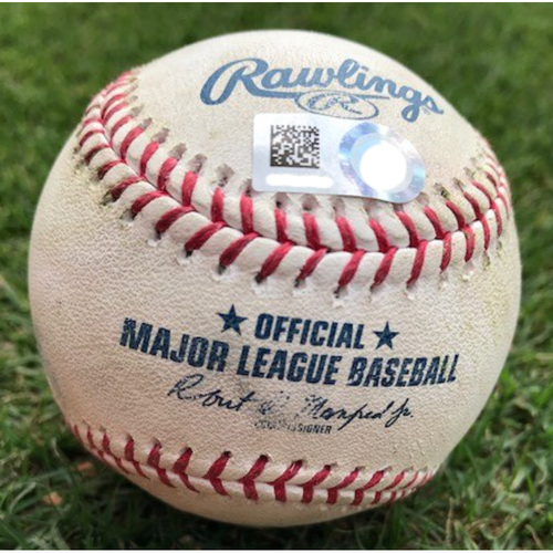 Photo of Game-Used Baseball - DJ LeMahieu Double - 9/27/19