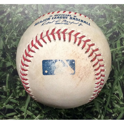 Photo of Game-Used Baseball STL@MIL 04/20/17 - Zach Davies - Kolten Wong: 3-Run Triple