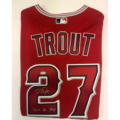 "Photo of Mike Trout ""2019 AL MVP"" Autographed Authentic Red Angels Jersey"