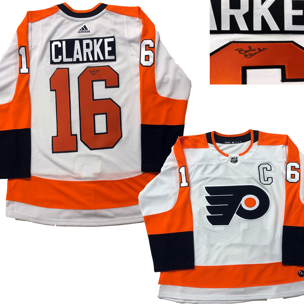 BOB CLARKE Signed Philadelphia Flyers White Adidas PRO Jersey