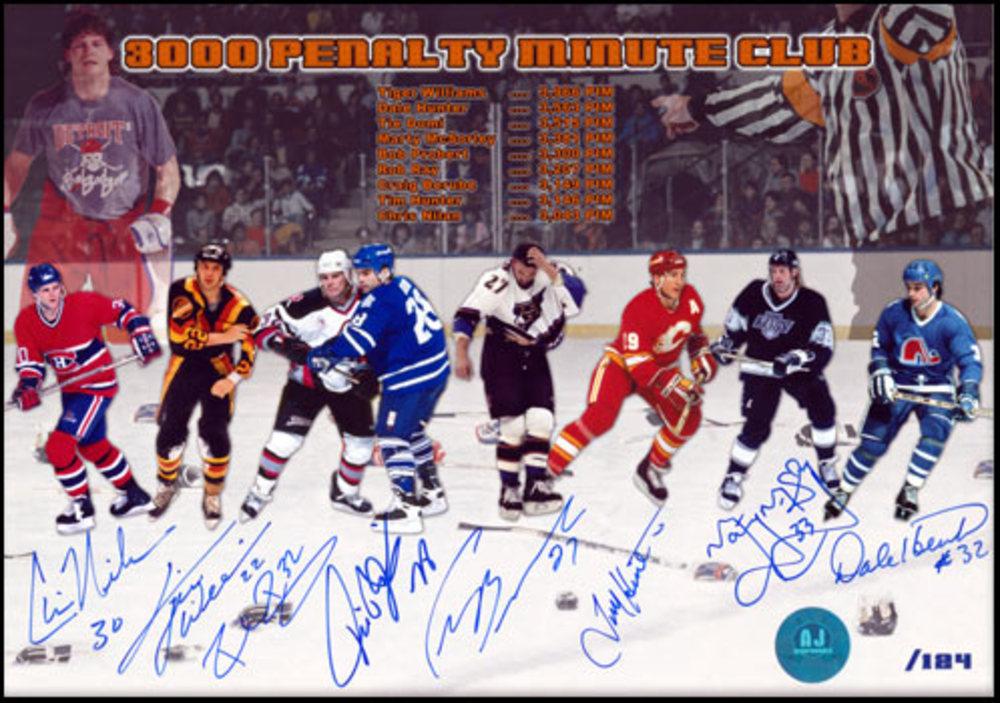 3000 PIM Autographed NHL ENFORCERS 14x20 LE Print #/124