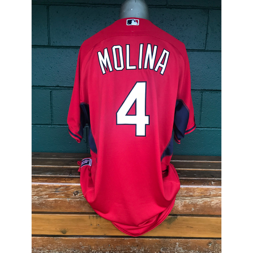 Photo of Cardinals Authentics: Yadier Molina Team-Issued Red Batting Practice Jersey