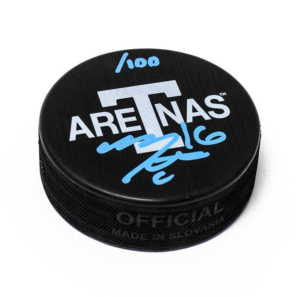 Mitch Marner Toronoto Arenas Signed Maple Leafs Next Century Game Puck L/E of 100