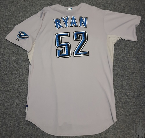 Photo of Authenticated Game Used Jersey - #52 B.J. Ryan (August 17, 2008). Ryan went 1 IP with 2 Hits, 0 ER and 1 K. Size 52