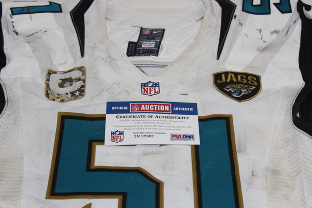 NFL Auction | STS - JAGUARS PAUL POSLUSZNY GAME WORN JAGUARS ...
