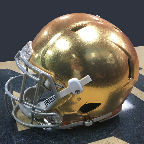 Photo of Authentic Game-Worn 2017 Notre Dame Helmet - Style 1 - Size M (B)
