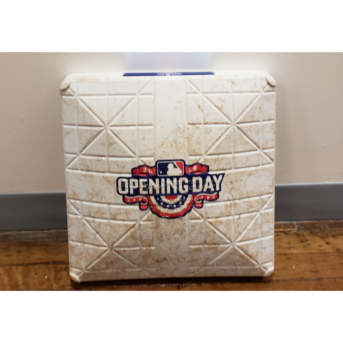 Photo of Game-Used Opening Day Base: Los Angeles Dodgers at San Diego Padres - 3rd Base Used in Innings 4-9 - 4/4/16