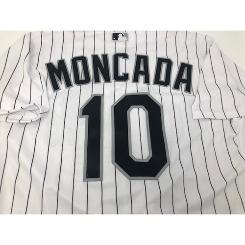 Photo of Yoan Moncada Team Issued White Pinstripe Jersey