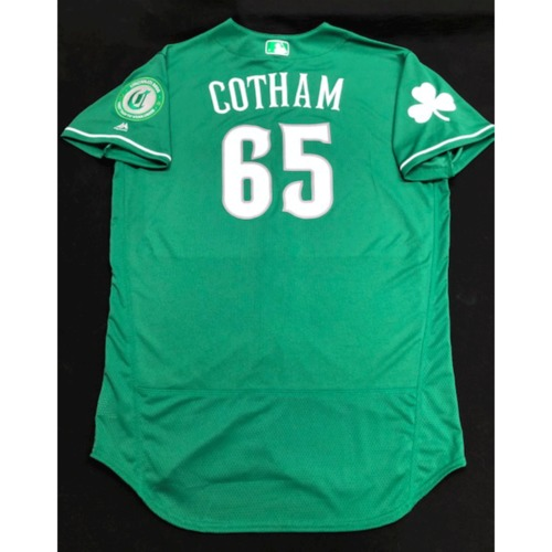 Photo of Caleb Cotham -- Game-Used Jersey -- 2019 St. Patrick's Day
