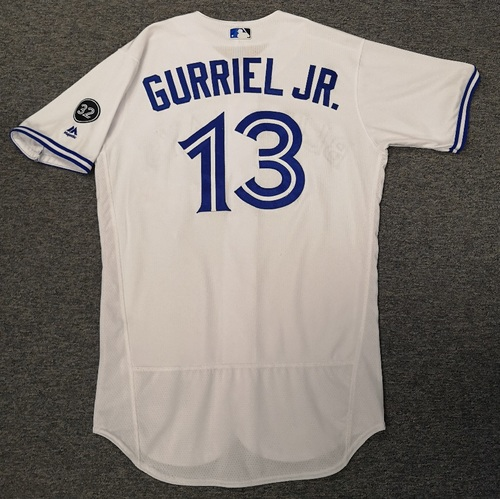 Photo of Authenticated Game Used Jersey - #13 Lourdes Gurriel Jr. (June 19, 18. July 3, 18: 1-for-4 with 1 HR, 1 Run and 3 RBIs). Size 44. Rookie Season