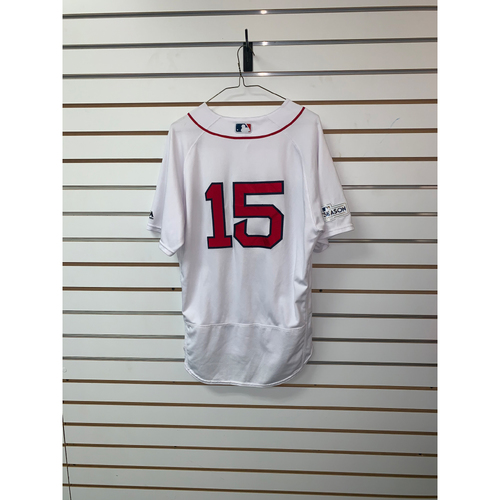 Photo of Dustin Pedroia Game Used October 8, 2017 ALDS Game 3 Home Jersey