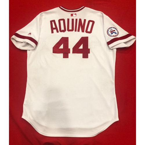 Photo of Aristides Aquino -- 1976 Throwback Jersey (Starting RF: Went 1-for-4, HR-11, 3 RBI, R) -- Becomes Fastest Player to Ever Record Their First 11 Career Home Runs -- Cardinals vs. Reds on Aug. 17, 2019 -- Jersey Size 46