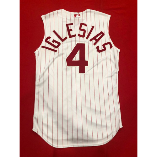 Photo of Jose Iglesias -- Game-Used 1995 Throwback Jersey (Starting SS: Went 1-for-3) -- D-backs vs. Reds on Sept. 8, 2019 -- Jersey Size 42