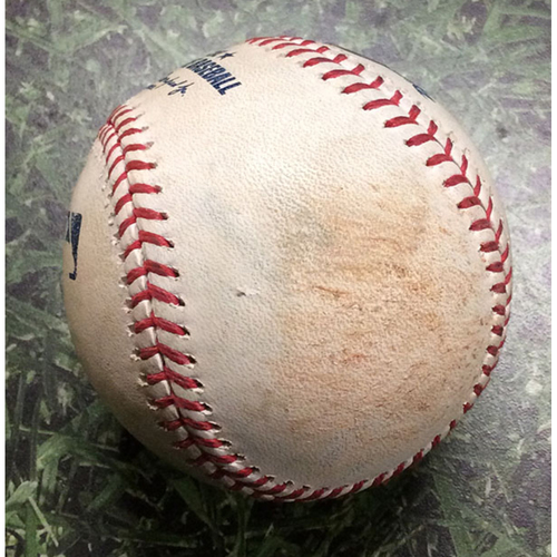 Photo of Game-Used Baseball HOU@MIL 09/02/19 - Adrian Houser - George Springer: Single