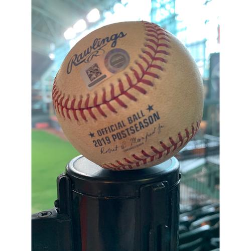 Photo of 2019 Game-Used Baseball Game 5 ALDS 10/10/19 Astros vs. Rays: Tyler Glasnow to Alex Bregman - Bottom 1st (2 RBI Double to RF)