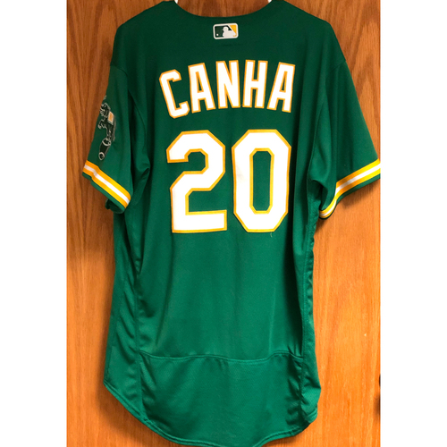 Photo of Game-Used Jersey - Mark Canha (8/19/20 HR #3) & AL Wild Card (Game 2)