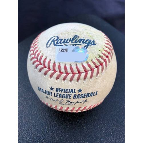 Photo of Game-Used Baseball - 2020 ALCS - Houston Astros vs. Tampa Bay Rays - Game 6 - Pitcher: Diego Castillo, Batter: George Springer (2-RBI Single) - Top 5