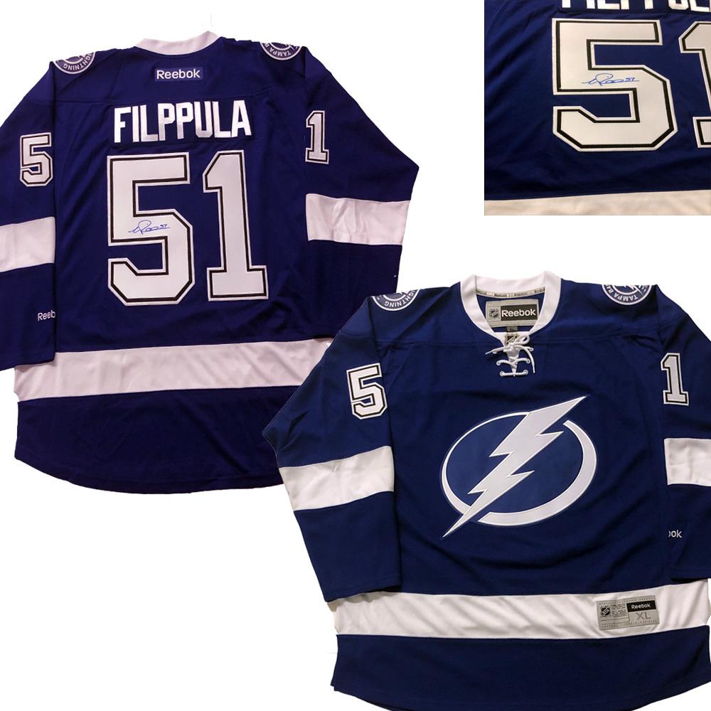 VALTERRI FILPPULA Signed Tampa Lightning Blue Reebok Jersey