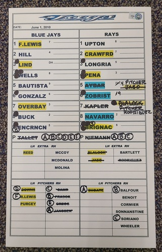 Photo of Authenticated Game Used Lineup Card (June 1, 2010 vs TBR): 3 RBIs for Sean Rodriguez