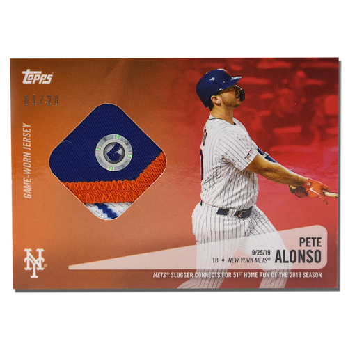 Photo of Pete Alonso #20 - Limited Edition of 20 Red Topps Card - Features Authenticated Game Used Jersey from 2019 Rookie of the Year Campaign - Alonso Hits 51st HR on 9/25/19